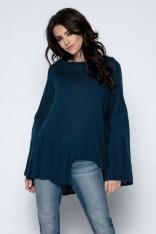 Granatowy  Sweter Asymetryczny z Rozkloszowanymi Rękawami