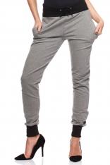 Szare Dresowe Spodnie z Kontrastowymi Ściągaczami
