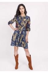 Granatowa Sukienka Zapinana na Zatrzaski w Tropikalne Liście