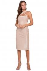 Beżowa Ołówkowa Sukienka Wieczorowa z Połyskiem