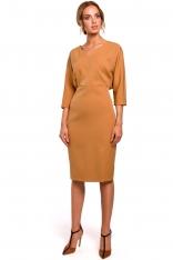 Cynamonowa Sukienka Oversize z Ołówkowym Dołem