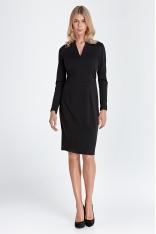 Sukienka z Dekoltem w Szpic - Czarna