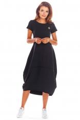 Czarna Codzienna Sukienka Bombka z Krótki Rękawem