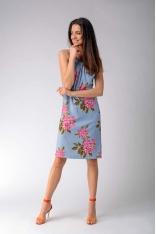 Trapezowa Sukienka w Kwiaty Wiązana na Karku