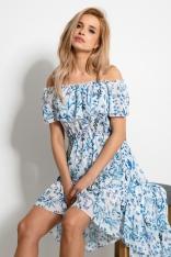 Asymetryczna Sukienka Hiszpanka w Niebieskie Kwiatki