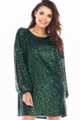 Luźna Mini Sukienka w Stylu Glamour - Zielona