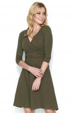 Khaki Dresowa Sukienka z Dekoltem V