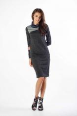 Czarna Sukienka z Golfem z Kolorowymi Wstawkami