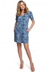 Trapezowa Sukienka Mini w Kwiatowy Wzór - Model 1