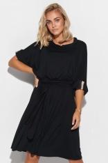 Oversizowa Sukienka z Wiązanym Paskiem - Czarna