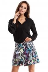 Spódnica Mini Trapezowa z Kolorowym Nadrukiem Wzór Geometryczny