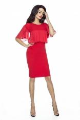 Czerwona Sukienka Dopasowana z Szyfonowymi Falbankami