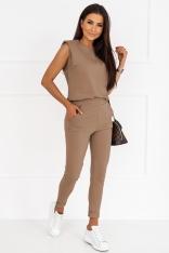 Dresowy Komplet Bluzka + Spodnie - Mocca