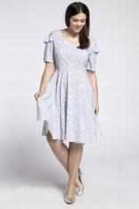 Kobieca Rozkloszowana Sukienka z Wycięciem na Ramieniu PLUS SIZE