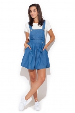 Niebieska Super Modna Sukienka z Szelkami