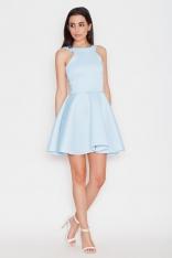 Niebieska Romantyczna Sukienka bez Rękawów z Szerokim Dołem