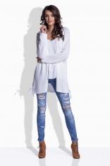 Biały Sweter - Narzutka z Kokardkami