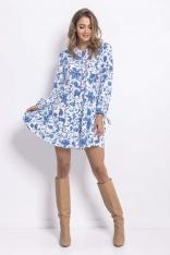 Zwiewna Sukienka w Błękitno-Białej Kolorystyce