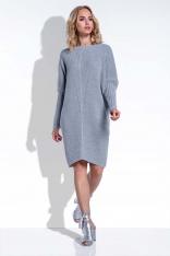 Szara Sukienka Sweter z Rękawem Kimono