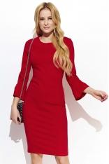 Czerwona Klasyczna Dopasowana sukienka z Poszerzanym Rękawem