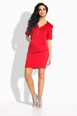 Czerwona Sukienka Sportowa z Suwakiem i Kapturem