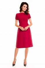 Bordowa Sukienka Rozkloszowana Midi z Krótkim Rękawem
