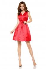 Czerwona Połyskliwa Wieczorowa Sukienka Szerokim Dołem