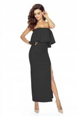 Elegancka Czarna Maxi Sukienka w Hiszpańskim Stylu
