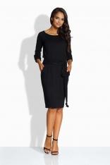 Czarna Sukienka przed Kolano z Wiązanym Paskiem