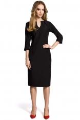 Czarna Sukienka Wizytowa Dopasowana z Przeszyciami