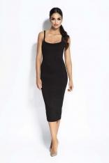 Czarna Sukienka Bodycon na Cienkich Ramiączkach