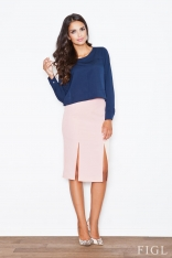 Jasno-różowa Elegancka Ołówkowa Spódnica z Podwójnym Pęknięciem