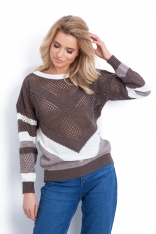 Brązowy Ażurowy Luźny Sweter w Ukośne Paski