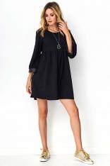 Czarno Sukienka z Rozkloszowanym Rękawem z Eko-Skórą