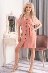 Sukienka Szmizjerka z Krótkim Rękawem - Różowa
