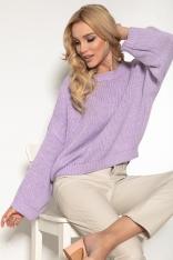 Sweter z Okrągłym Dekoltem w Casualowym Stylu - Lawendowy