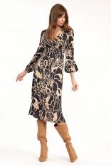 Midi Sukienka we Wzór Safari