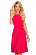 Elegancka Sukienka z Plisowanym Dołem - Malinowa