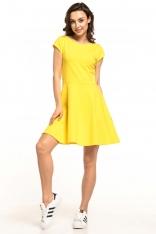 Żółta Rozkloszowana Sukienka Dzianinowa na Lato