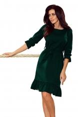 Ciemno Zielona Sukienka z Falbankami Przewiązana Paskiem