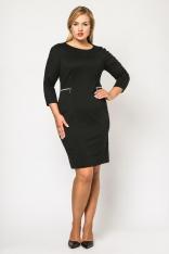 Klasyczna Czarna Dopasowana Sukienka z Ozdobnymi Suwakami Moda XL