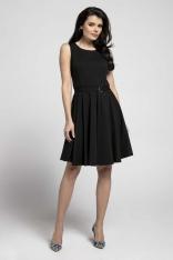 Czarna Rozkloszowana Sukienka bez Rękawów z Ozdobnym Paskiem