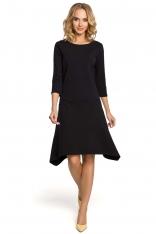 Czarna Sukienka Wygodna Dzianinowa z Obniżonym Stanem
