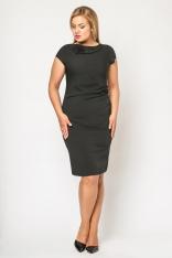 Wizytowa Czarna Sukienka z Kryzą z Krótkim Rękawem Moda XL