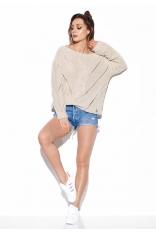 Beżowy Oversizowy Sweter z Ażurem