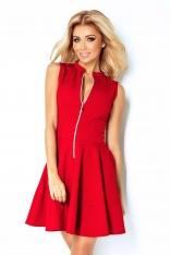 Czerwona Sukienka Rozkloszowana z Suwakiem bez Rękawów