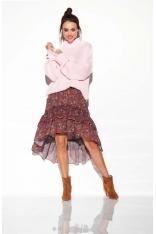 Różowy Oversizowy Ciepły Sweter z Półgolfem