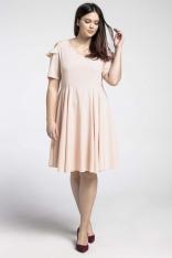 Łososiowa Kobieca Rozkloszowana Sukienka z Wycięciem na Ramieniu PLUS SIZE
