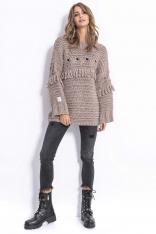 Mocca Stylowy Luźny Sweter z Frędzlami