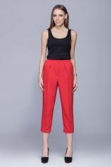 Czerwone Eleganckie Garniturowe Spodnie 3/4 w Kant